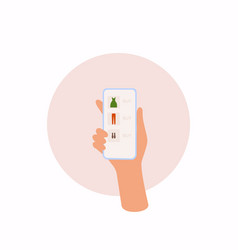 hand holding mobile smart phone with shopp app vector image