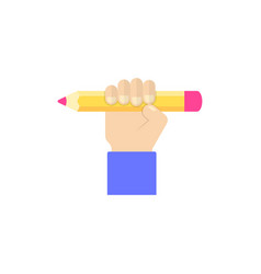 hand holding pencil vector image