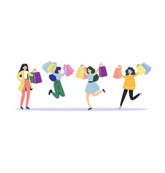 happy girls rejoice at new purchases in store vector image