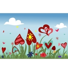 Hearts on sky background vector