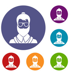 hipsster man icons set vector image vector image