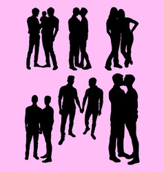 homosexual couple silhouette vector image