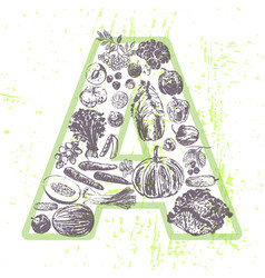 Ink hand drawn fruits and vegetables vitamin a vector