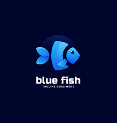 logo blue fish gradient colorful style vector image