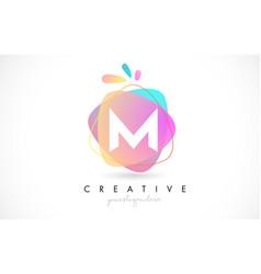 m letter logo design with vibrant colorful splash vector image