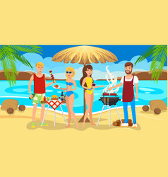 Meeting friends on beach barbecue on beach vector