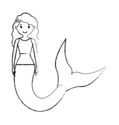 Mermaid with curly hairstyle vector