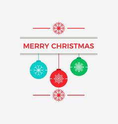 merry christmas hanging christmas balls with vector image