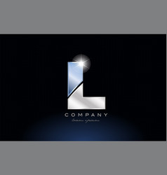 Metal blue alphabet letter l logo company icon vector