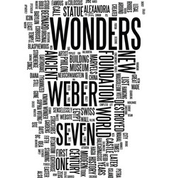 Modern wonders text background word cloud concept vector
