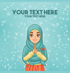 Muslim woman greeting with welcoming hands vector