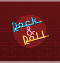 Neon sign rock and roll vector