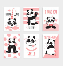 panda cards cute chinese bears happy vector image