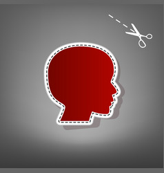 people head sign red icon with for vector image