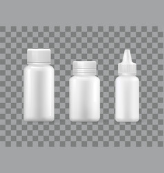 pill bottles set spray container isolated 3d icons vector image