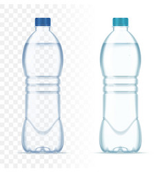 plastic realistic bottles with water and vector image