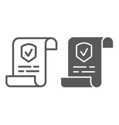 Policy line and glyph icon document and contract vector