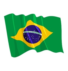 Political waving flag brazil vector