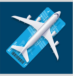 Realistic 3d detailed airplane over ticket travel vector