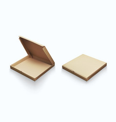 realistic cardboard empty clear pizza box for vector image