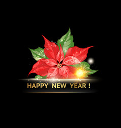 red poinsettia with happy new year text isolated vector image