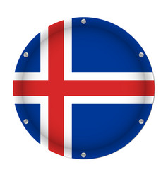 round metallic flag of iceland with screws vector image