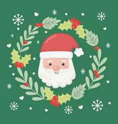 santa wreath floral celebration merry christmas vector image