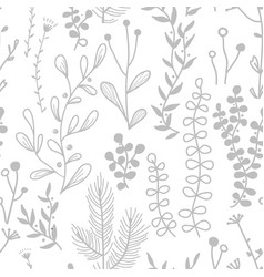 seamless border with doodle forest vector image