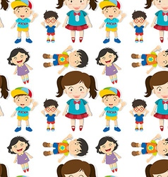 Seamless cute boys and girls vector image