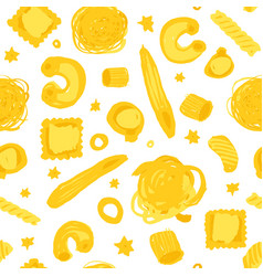 seamless pattern with hand drawn pasta vector image