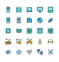 set computer components color line icons vector image