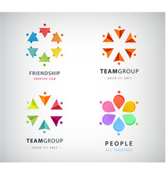 set human people circle group logos vector image
