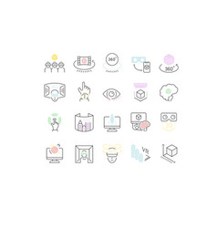 set line icons vr and ar vector image