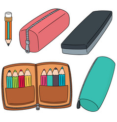 Set of pencil case vector