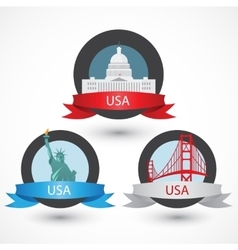 Set of usa famous monuments capitol golden gate vector
