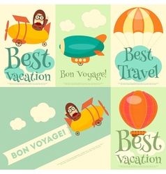 Set travel posters with air vehicles vector