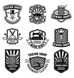 set vintage tailor shop emblems design vector image