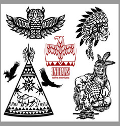 Set wild west american indian designed elements vector