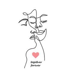 simple faces portraits romantic concept vector image