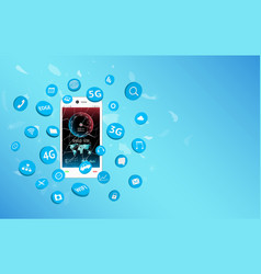 Smartphone with speed test screen and apps icon vector