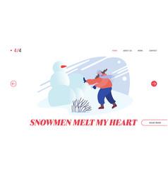 snowballs battle website landing page woman vector image