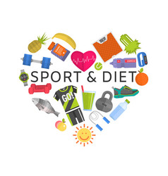 sport and diet healthy lifestyle love vegeterian vector image