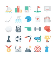 Sports and games colored icons 2 vector