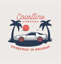 Summer holidays labels and badges retro car vector