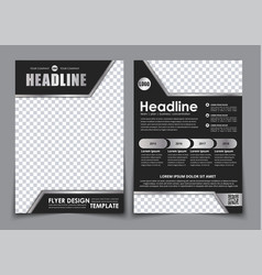 Template black a4 brochure with chrome elements vector