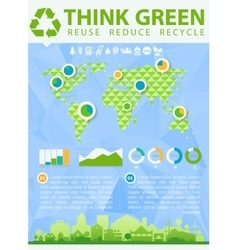 Think Green with small town vector