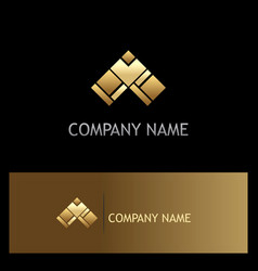 Triangle gold arrow logo vector