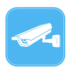 Under cctv surveillance sign blue icon with white vector