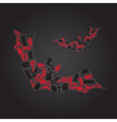 Vampire icons in dark bat shape eps10 vector