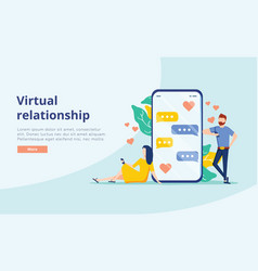 virtual relationship concept people young vector image